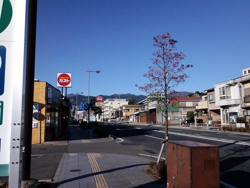 小田原のセブンイレブンから箱根の山を望む