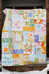 Vintage Sheet Quilt (Jeni Baker) Tags: home floral up modern vintage project december all quilt recycled handmade linen sewing cider sheets retro fabric quilting finished stitching sheet block washed 365 projects quilts sparkling crafting 2010 bedding repurposed bedsheet reused