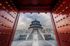 Gateway to the Temple of Heaven (Stuck in Customs) Tags: china city travel building history stone architecture stairs digital religious temple photography design blog compound high worship asia heaven republic dynamic stuck minaret religion steps beijing september east altar photoblog software processing historical metropolis imaging  prc spiritual templeofheaven altarofheaven northern tao range complex hdr taoist tutorial trey tiantan peking travelblog taoism customs 2010  municipality bijng ratcliff  tintn northernchina hdrtutorial stuckincustoms treyratcliff abkaimukdehun photographyblog peoplesrepublicofchina stuckincustomscom nikond3x