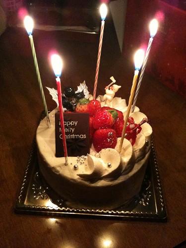 ケーキに点灯