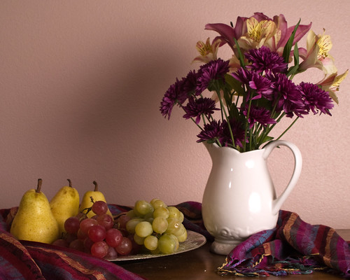 Still Life with grapes pears and flowers