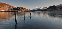 Icy Ennerdale Water Panorama (Nick Landells) Tags: winter panorama lake cold ice water frozen snowy district great pillar freezing fells icy nikkor bowness knott borne anglers ennerdale crag 2470mm newvision d700 snowfell herdus visipix peregrino27newvision