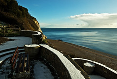 Snow in the Bay (Alastair Cummins) Tags: sea snow beach beer bay village devon