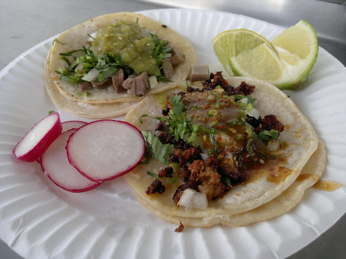 From front: chorizo and lengua tacos