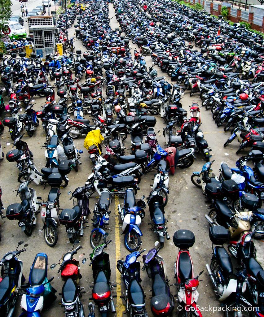 Motorbike parking lot in Singapore