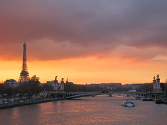 Eiffel Tower and Seine River ,Paris (Alexanyan) Tags: city bridge sunset sun paris france tower sunshine seine river french boat europe tour capital eiffel
