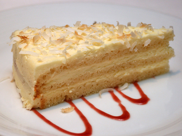 Sugar-free Coconut Vanilla Layer cake - the toasted coconut adds some crunch