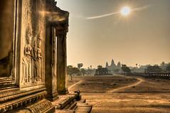 Silhouette from main entrance Angkor Wat Angkor Cambodia