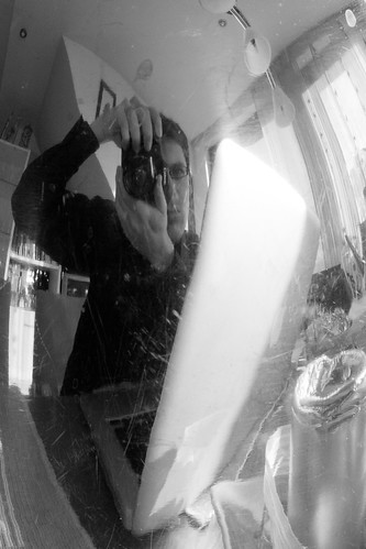 Self Portrait. Me and the Metal Coffee Pot.