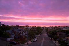 La Jolla Sunset (sdosick) Tags: ocean road street light sunset red sea sky orange sun color beach clouds landscape view purple sandiego pentax lajolla socal calfiornia