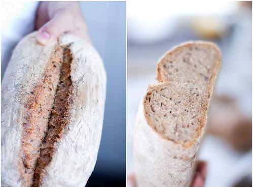 Miolo do pão de cinco grãos depois de arrefecer.