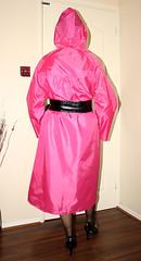 pink nylon mac (sheerglamour) Tags: leather fetish tv mac cd plastic heels nylon pvc nylons