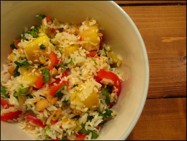 mango, red pepper and coconut rice salad, recipes, food, foodie, salad, healthy, vegetarian, fresh