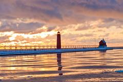 Michigan Gold (Mi Bob) Tags: sunset lake haven pier michigan grand lakemichigan grandhavenpier