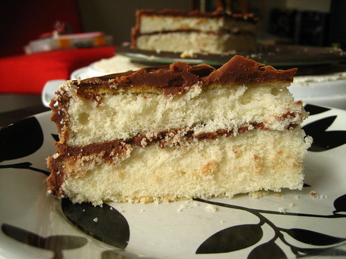 white velvet cake with milk chocolate ganache
