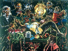 Immendorff, Jorg (1945-2007) - 1992 Gyntiana: Birth/Onion Man (The Saatchi Gallery, London, UK) (RasMarley) Tags: contemporary surrealism group german painter 1992 groupportrait 20thcentury 1990s saatchi immendorf jorgimmendorf gyntiana birthonionman