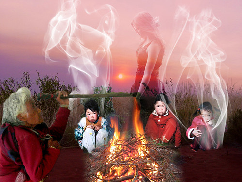 Ancient civilizations told dramatic stories around the campfire
