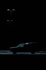 91|365 - waiting (Jessica L Wyatt) Tags: winter night truck dark snowflakes parkinglot streetlamp
