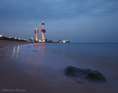 Stand as a Rock.. Kuwait ♥ (ZiZLoSs) Tags: blue sea sky canon eos long exposure towers wide sigma 7d kuwait 1020mm aziz sigma1020mm ابراج الكويت abdulaziz عبدالعزيز أبراج zizloss المنيع 3aziz canoneos7d almanie httpzizlosscom