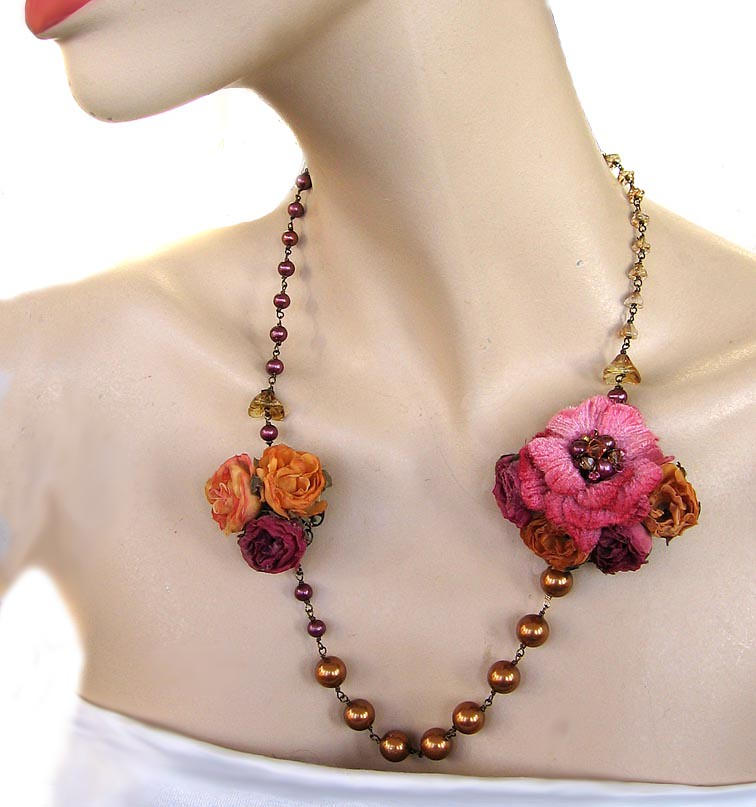 Silk Flowers and Pearls Necklace  - Gingerlily Designs