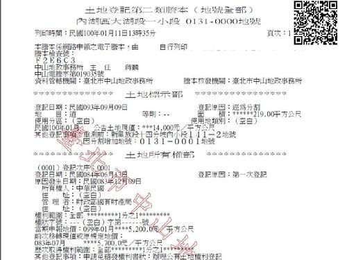 民眾調閱131地號的土地登記,上頭載明所有權人為中華民國,管理者為國有財產局。