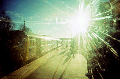 G-type, main sequence. (Back, and to the left) Tags: film analog train 35mm lomo xpro crossprocessed yorkshire toycamera platform slide lensflare creativecommons expired e6 toycam rvp velvia50 plasticlens c41 vivitarultrawideslim sesku vivitaruws moorthorperailwaystation flickr:user=backandtotheleft tumblr:user=thediaryofadisappointingman
