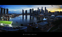 Singapore Panorama (Musaad (CJ)) Tags: street travel sky panorama sun seascape water field clouds sunrise landscape rising football nikon singapore asia view pano soccer future development developing improve blinkagain bestofblinkwinner