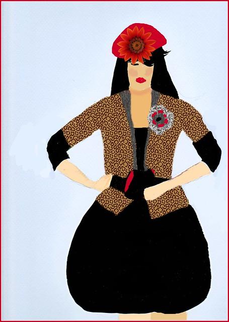 VINTAGE RUNWAY BLACK DRESS leopard jacketBACKGROUND JACKET