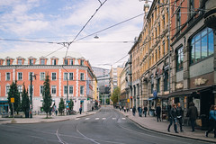 Streets of Oslo (krkojzla) Tags: oslo norway scandinavia oslosentrum buildings architecture beautiful windows streets people walking canon22mmf2 canoneosm retro analog vintage rail way pastel
