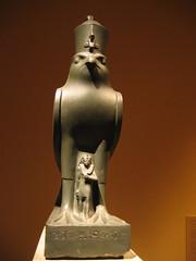 Horus and the Pharaoh Nectanebo II (krigud) Tags: usa newyork egypt horus mythology metropolitan metropolitanmuseumofart 2007