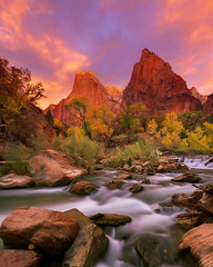 Grand Dawn (Exploring Light Photography) Tags: utah zion virginriver patriarchs