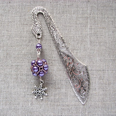 beaded bookmark with snowflake