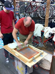 2nd Annual Holiday Party: Mahan's Making Tees (Hugger Industries) Tags: holidayparty bikehugger texturadesign elliottbaybicycles davidsonhandbuiltframes