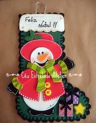 Bota de Natal Boneco de Neve (Cu estrelado) Tags: natal eva porta bota enfeite bonecodeneve
