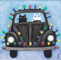 festive black vw (Kilkennycat) Tags: christmas original cats white snow black vw cat bug painting volkswagen festive lights folkart beetle roadtrip kitties whimsical vdub kilkennycat ryanconners
