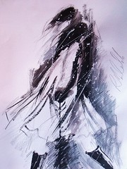 walking in the snow (Ros Webb art) Tags: white snow black art female figurative inkonpaper fashionillustration winterimages painting2010