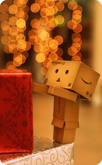 Danbo is ready for Xmas (butacska) Tags: christmas xmas lights bokeh gift present danbo revoltech