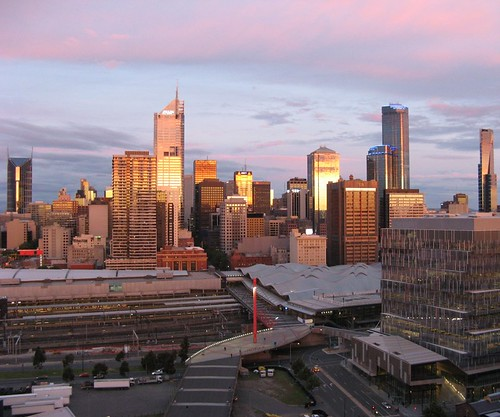 Melbourne CBD at sunset