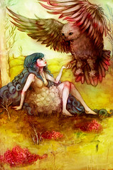 """The Wise Owl Prowls"" (sara fly's okay) Tags: cute bird art girl animal illustration woodland painting pretty sara drawing feather holbert"