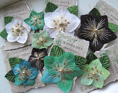 Hellebore Accessories (Wychbury Designs) Tags: christmas uk white flower green floral rose hair purple handmade brooch clips pins bobby accessories etsy corsage stitched embroidered beaded hellebores folksy wychbury