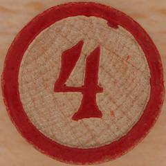 Wood Bingo Number 4 (Leo Reynolds) Tags: canon four eos iso100 4 number squaredcircle lotto 60mm f80 bingo loto onedigit housie housey number4 0sec 40d hpexif numberset grouponedigit numberbingo houseyhousey xsquarex housiehousie sqset058 bingoset11 xleol30x