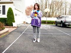 ______________ (alyssa roth) Tags: outside chalk sad looking purple pavement sweatshirt