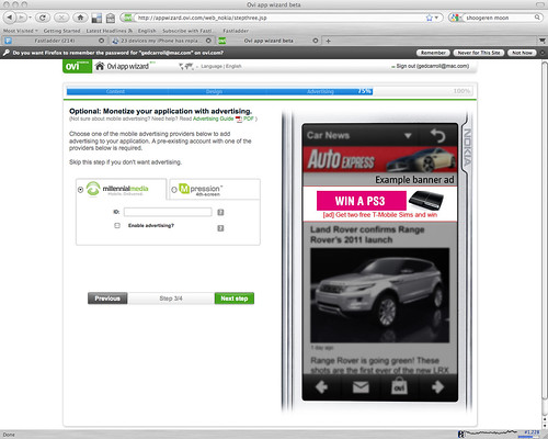 Opt in to optional advertising