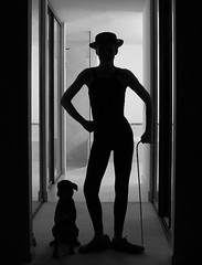 'In the end, everything is a gag.' - Charlie Chaplin (Laurarama) Tags: blackandwhite bw silhouette chaplin charliechaplin silhouettegirl ourdailychallenge laurarama