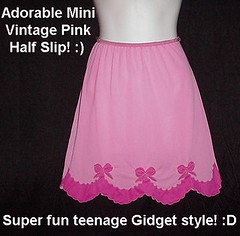 Perky Pink Teen GIDGET STYLE Vintage Half Slip! So CUTE! (Rock Candy Roses) Tags: pink sexy vintage soft lace chiffon adorable skirt sissy fancy half slip layers satin crossdresser bows slippery nylon sheer slips luxurious appliques scallopedhemline