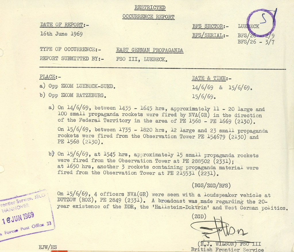 Restricted Occurence Report, 16th June 1969.