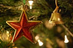 Christmas Star and Bell (DaveJC90) Tags: christmas xmas winter light red macro tree closeup silver season gold star shiny bright bell christmastree present shape bauble