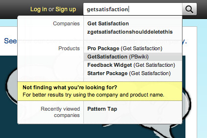 Live Search from Get Satisfaction
