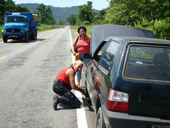 Lady with flat tire