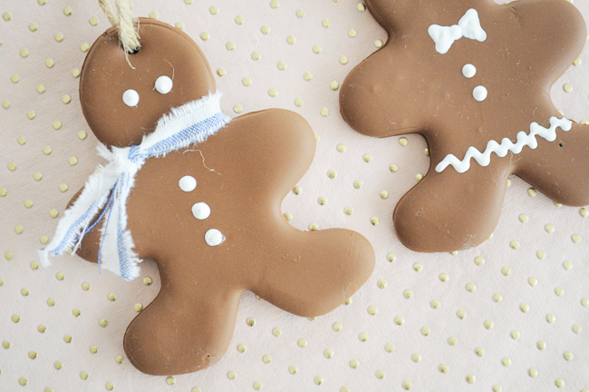 faux gingerbread cookie ornaments